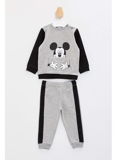 DeFacto Erkek Bebek Mickey Mouse Lisanslı Pijama Takımı Gri
